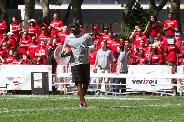Deion Sanders during the Madden NFL 12 Pigskin Pro-Am in Bryant Park on July 27, 2011 in New York City.