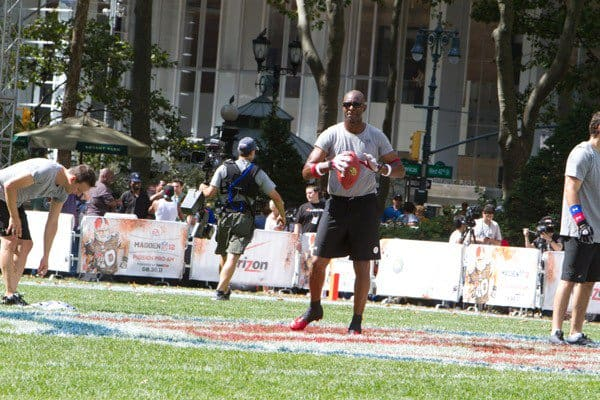 Jerry Rice during the Madden NFL 12 Pigskin Pro-Am in Bryant Park on July 27, 2011 in New York City.