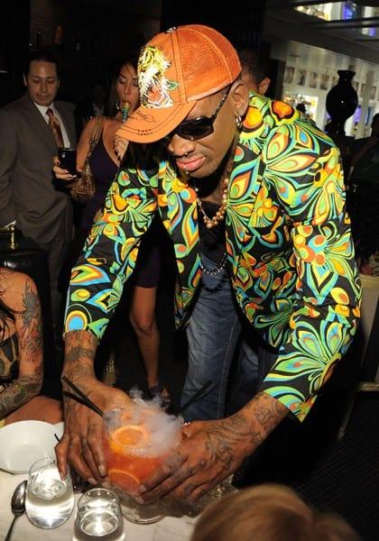 Dennis Rodman celebrates his birthday at the Sugar Factory American Brasserie at Paris Las Vegas on July 19, 2011 in Las Vegas, Nevada.