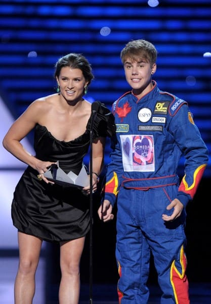 Danica Patrick and Justin Bieber attend The 2011 ESPY Awards held at the Nokia Theatre L.A. Live on July 13, 2011 in Los Angeles, California.
