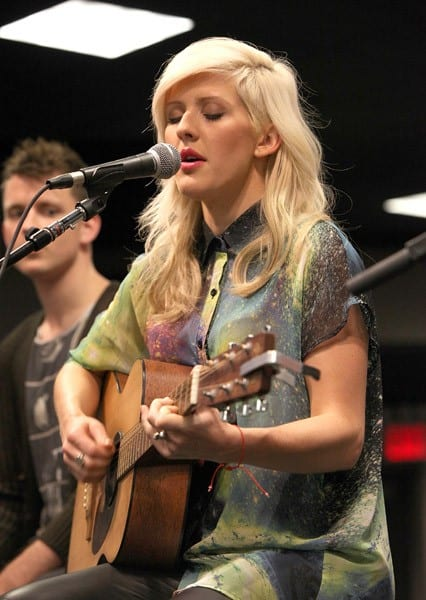 British artist Ellie Goulding performs at Best Buy Union Square on July 30, 2011 in New York City.