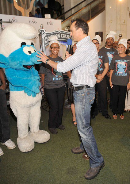 Actor Hank Azaria attends the unveiling of the Smurfalator at FAO Schwarz on July 26, 2011 in New York City.
