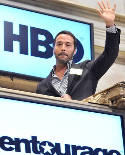 Actor Jeremy Piven rings the opening bell at the New York Stock Exchange on July 22, 2011 in New York City.