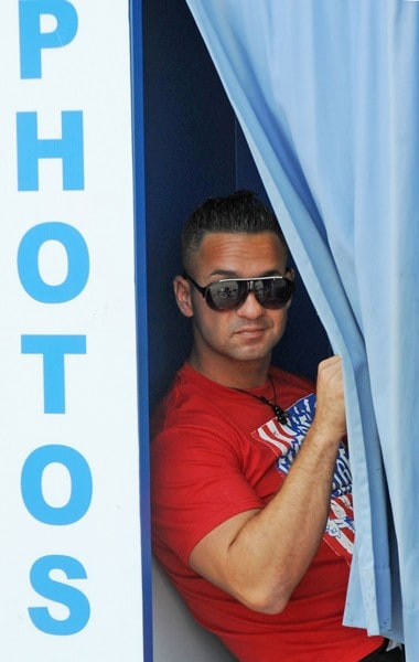 Nicole 'Snooki' Polizzi and Michael 'The Situation' Sorrentino filming on location for 'Jersey Shore' on July 15, 2011 in Seaside Heights, New Jersey.