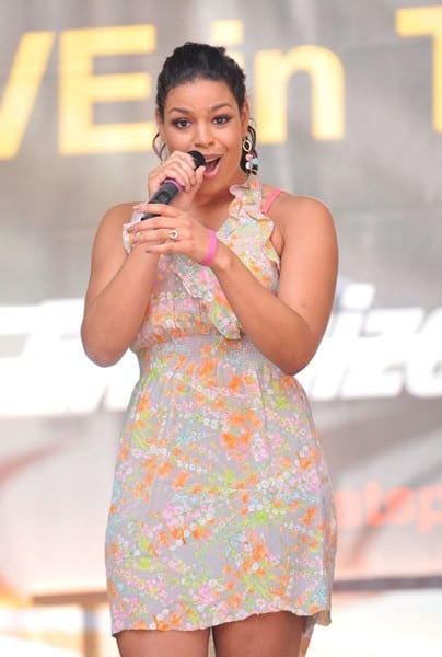Singer Jordan Sparks performs for an Energizer/VH1 Save The Music Event in Times Square on July 28, 2011 in New York City.