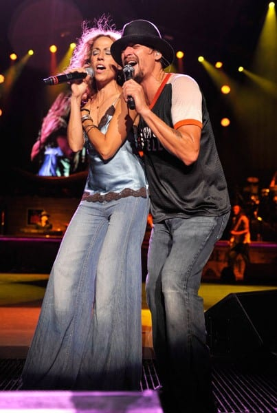 Sheryl Crow and Kid Rock perform at PNC Bank Arts Center on July 12, 2011 in Holmdel, New Jersey.