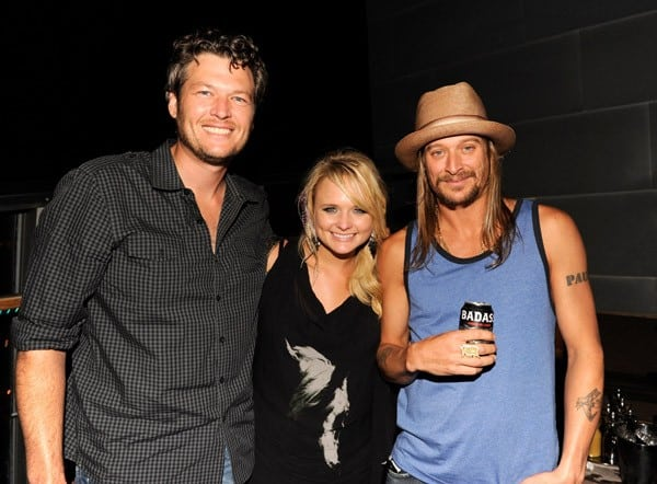 Kid Rock, along with Blake Shelton and Miranda Lambert, attends the 'Born Free' platinum party at The Hotel on Rivington Penthouse on July 11, 2011 in New York City.
