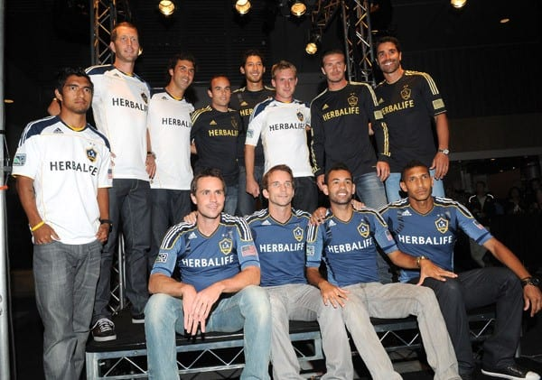 Omar Gonzalez, Landon Donovan, David Beckham and Juan Pablo Angel attend LA Galaxy Fourth of July weekend kick off party at L.A. LIVE on July 1, 2011 in Los Angeles, California.