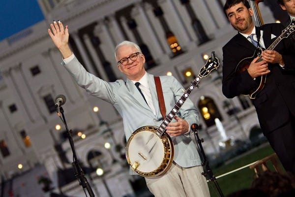 Steve Martin performs during rehearsal for the annual PBS 'A Capitol Fourth' concert at the US Capitol on July 3, 2011 in Washington, DC.