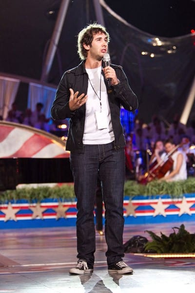 Josh Groban performs during rehearsal for the annual PBS 'A Capitol Fourth' concert at the US Capitol on July 3, 2011 in Washington, DC.
