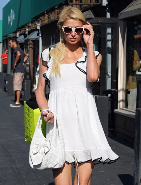 Paris Hilton is seen shopping in Malibu on July 10, 2011 in Los Angeles, California.