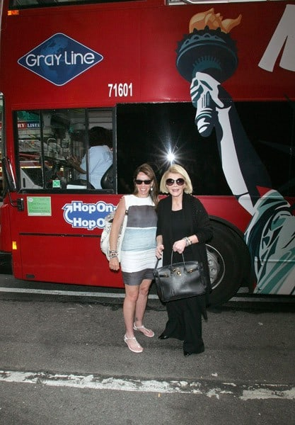 Melissa Rivers and Joan Rivers attend the Joan Rivers and Melissa Rivers private Gray Line New York bus tour on July 8, 2011 in New York City.