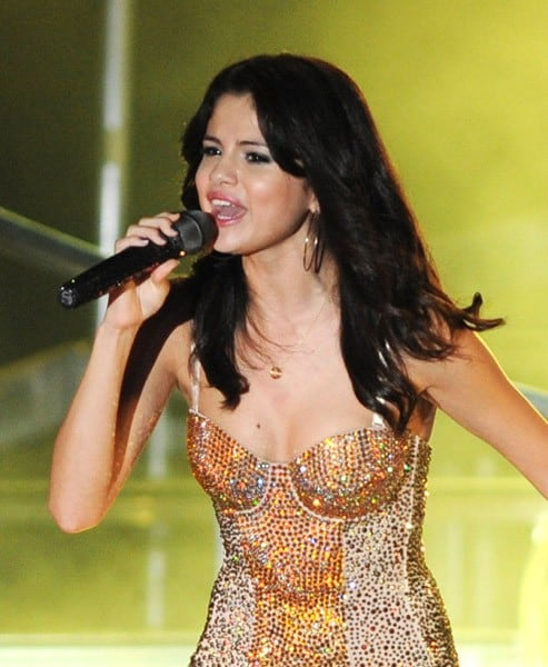 Selena Gomez performs on opening night of her US tour at Mizner Park Amphitheatre on July 28, 2011 in Boca Raton, Florida.