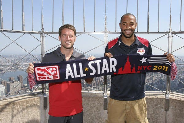 Michael Owen and Thierry Henry visit the The Empire State Building on July 26, 2011 in New York City.