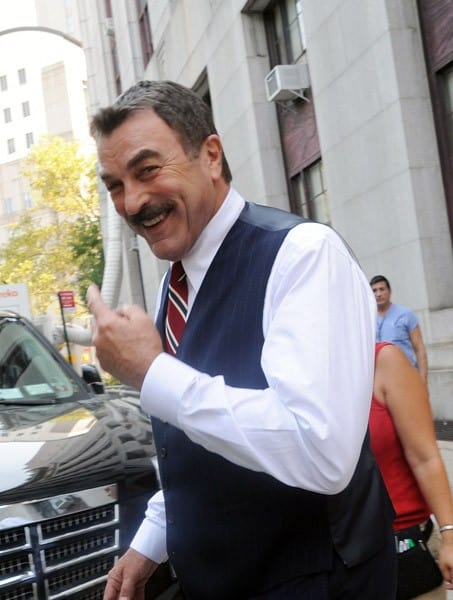 Tom Selleck filming on location for 'Blue Bloods' on the streets of Manhattan on July 22, 2011 in New York City.