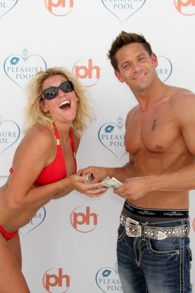 Jeff Timmons With Bikini Contest Winner at Pleasure Pool in Las Vegas, Nevada on August 6, 2011