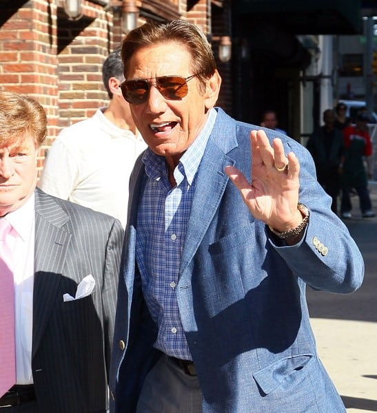 Actor Alec Baldwin and NFL Hall of Famer Joe Namath outside 'Late Show With David Letterman' at the Ed Sullivan Theater on August 30, 2011 in New York City.
