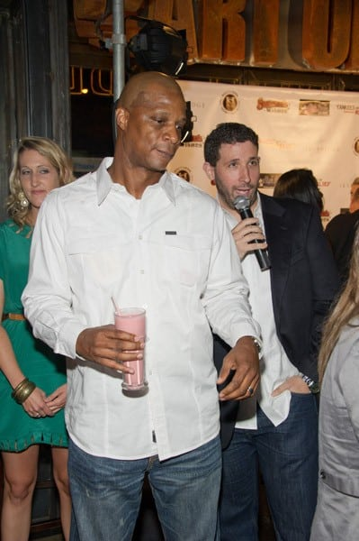 Alex Rodriguez, CC Sabathia, Darryl Strawberry, Joanna Garcia Swisher and Nick Swisher attend the Yankees Unite for Tornado Relief benefit at Southern Hospitality on August 22, 2011 in New York City.