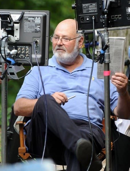 Director Rob Reiner and actor Morgan Freeman filming on location for 'Summer at Dog Dave's' on August 4, 2011 in Greenwood Lake, New York.