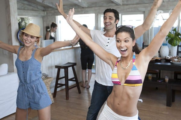 Anna Trebunskaya, Melissa Rycroft, Maksim Chmerkovskiy, Derek Hough, Kym Johnson, Jennifer Grey, Lacey Schwimmer, and Cheryl Burke enjoying Ubisoft's Just Dance 3 BBQ At The Fiat Beach House on August 25, 2011 in Malibu, California.