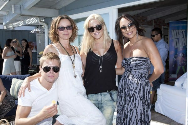 Derek Hough, Jennifer Grey, Lacey Schwimmer, and Cheryl Burke enjoying Ubisoft's Just Dance 3 BBQ At The Fiat Beach House on August 25, 2011 in Malibu, California.