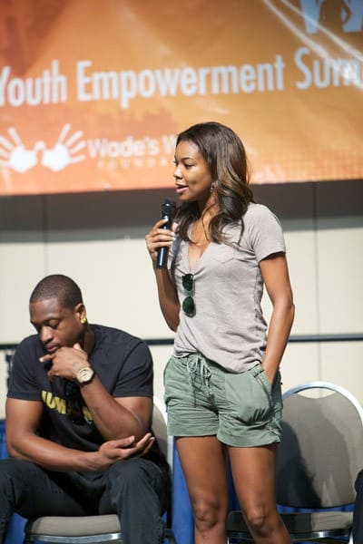 Dwyane Wade and Gabrielle Union attend the Youth Summit hosted by Dwyane Wade as part of the Wade's World Weekend on August 27, 2011 in Chicago, Illinois.
