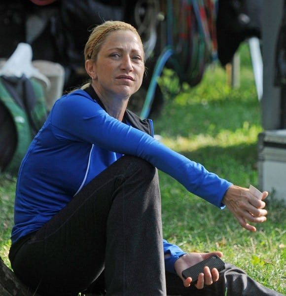 Edie Falco filming on location for 'Gods Behaving Badly' on August 5, 2011 in New York City.