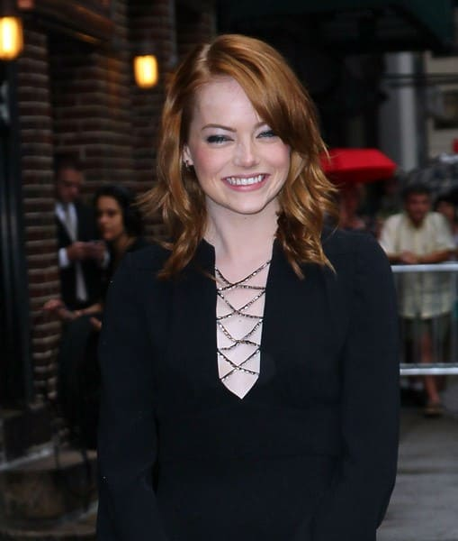 Actress Emma Stone arrives to 'Late Show With David Letterman' at the Ed Sullivan Theater on August 3, 2011 in New York City.
