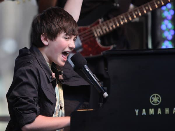 Greyson Chance performs outside of FOX Studios on August 12, 2011 in New York City.