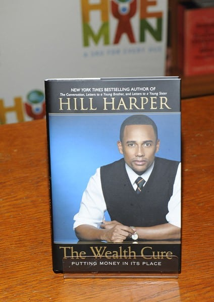 Hill Harper promotes 'The Wealth Cure: Putting Money In Its Place' at the Hue-Man Bookstore & Cafe on August 23, 2011 in New York City.