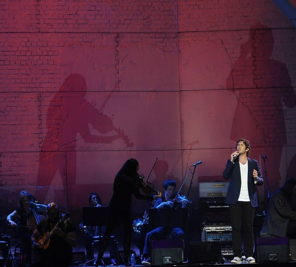 Vocalist Josh Groban performs at HP Pavilion on August 23, 2011 in San Jose, California.