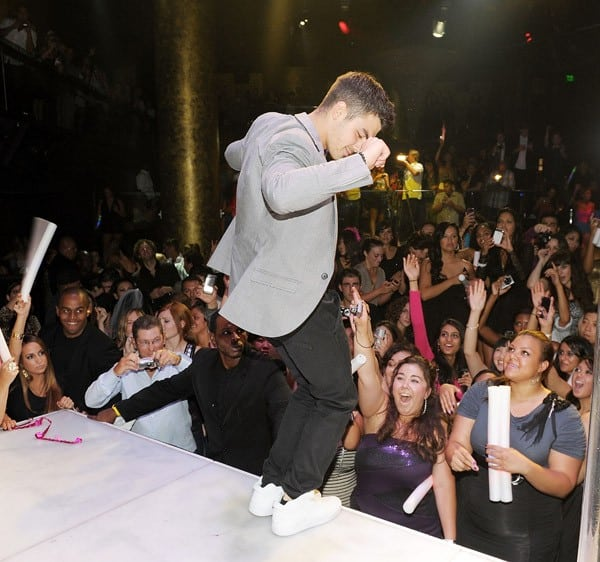 Joe Jonas performs his solo debut album 'FastLife' at HAZE Nightclub at ARIA in CityCenter on August 13, 2011 in Las Vegas, Nevada.