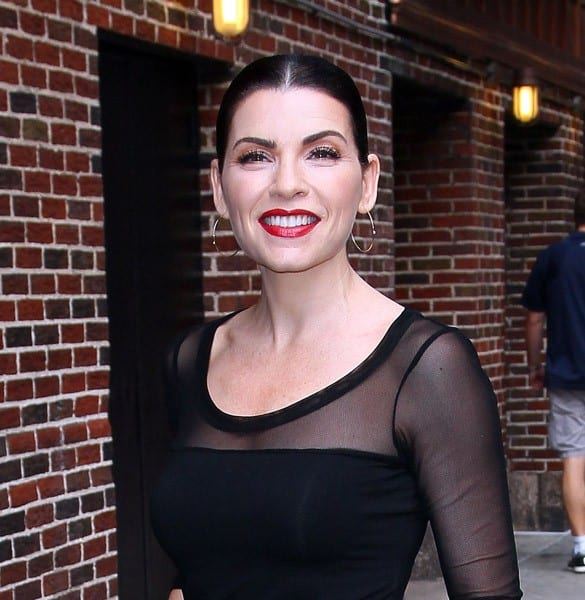 Actress Julianna Margulies arrives to 'Late Show With David Letterman' at the Ed Sullivan Theater on August 29, 2011 in New York City.
