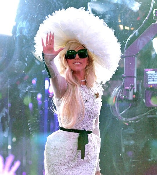 Lady Gaga visits MTV's Times Square studios on August 18, 2011 in New York City.