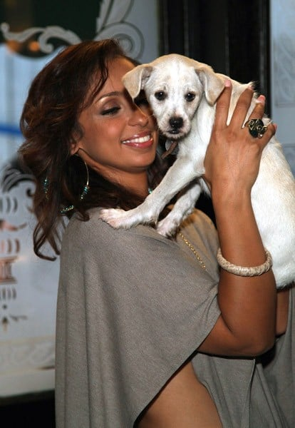 Mya attends the ribbon cutting for the North Shore Animal League's new Mobile Rescue & Adoption Unit at The Algonquin Hotel on August 10, 2011 in New York City.
