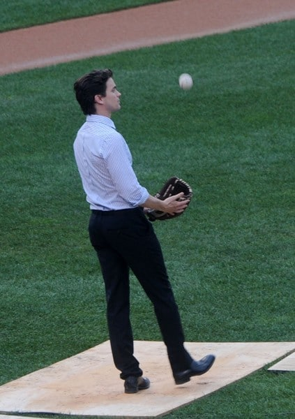 Matt Bomer seen on location for 'White Collar' playing baseball in Staten Island on August 9, 2011 in New York.