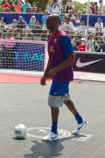 Los Angeles Lakers guard Kobe Bryant at the 2011 Celebrity Soccer Challenge at Kastles Stadium at the Wharf on July 31, 2011 in Washington, DC.