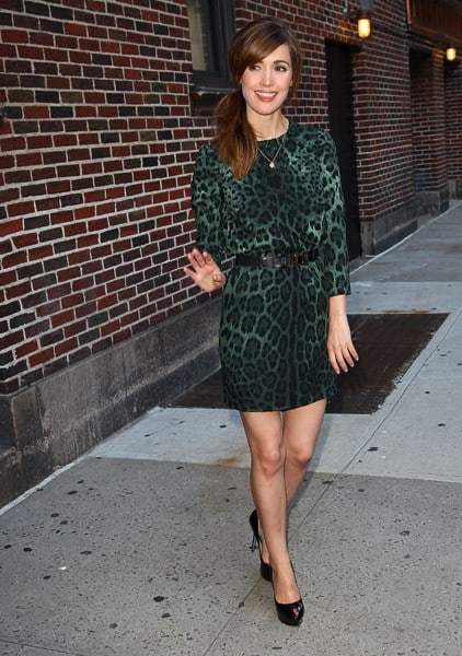 Actress Rose Byrne departs 'Late Show With David Letterman' at the Ed Sullivan Theater on August 23, 2011 in New York City.