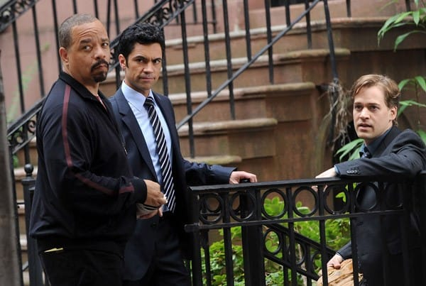Actor Ice-T, actor T.R. Knight and actor Danny Pino filming on location for Law & Order: SVU' on the streets of Manhattan on August 3, 2011 in New York City.