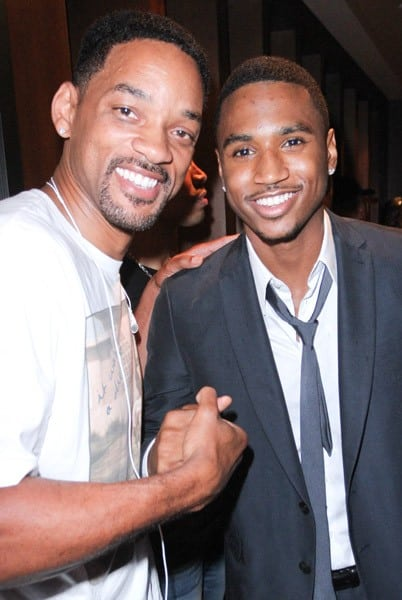 Will Smith and Trey Songz attend The Moet Rose Lounge in Miami to Benefit Trey Songz's charity Angels with Hearts at on August 18, 2011 in Miami Beach, Florida.