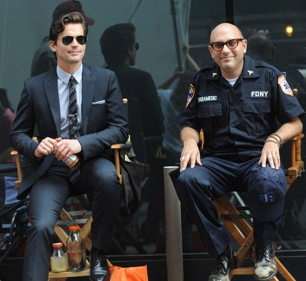 Matt Bomer and Willie Garson filming on location for 'White Collar' on the Streets of Manhattan on August 18, 2011 in New York City.