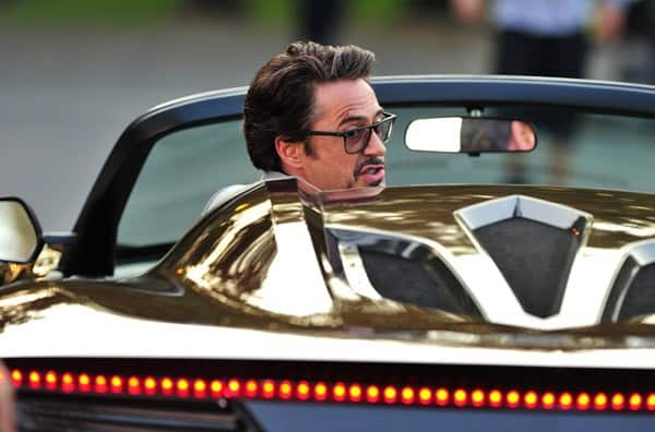 Robert Downey Jr. and Scarlett Johansson filming on location for 'Avengers' on September 2, 2011 on the streets of Manhattan in New York City.