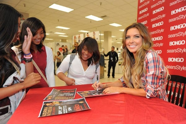 Television personality Audrina Patridge greets fans at Bongo at Sears on September 28, 2011 in Cerritos, California.
