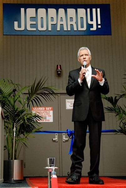 TV game show host Alex Trebek attends the 'Jeopardy!' Hall of Fame Sony Pictures Studios tour ribbon cutting ceremony at Sony Pictures Studios on September 20, 2011 in Culver City, California.
