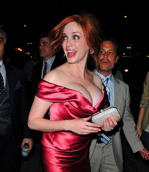 Christina Hendricks leaves the 'I Don't Know How She Does It' premiere after party at Hudson Hotel on September 12, 2011 in New York City.
