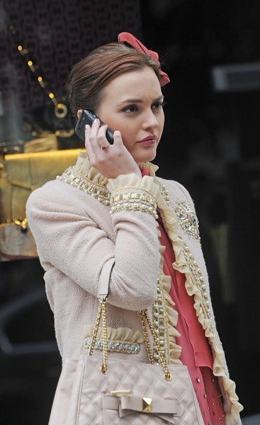 Leighton Meester on the set of 'Gossip Girl' outside Milly Madison Avenue on September 16, 2011 in New York City.