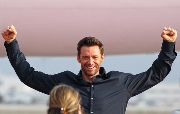 Hugh Jackman attends the unveiling of the new Virgin America and DreamWorks 'Real Steel' Plane at LAX Airport on September 23, 2011 in Los Angeles, California.