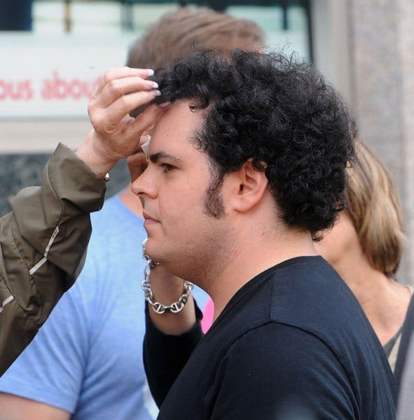 Josh Gad filming on location for 'Thanks for Sharing' on September 26, 2011 on the Streets of Manhattan in New York City.