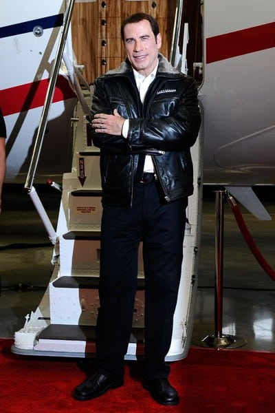 John Travolta speaks as he attends the 'Bombardier Hollywood Private Jet Showcase With John Travolta' on September 20, 2011 in Los Angeles, California.