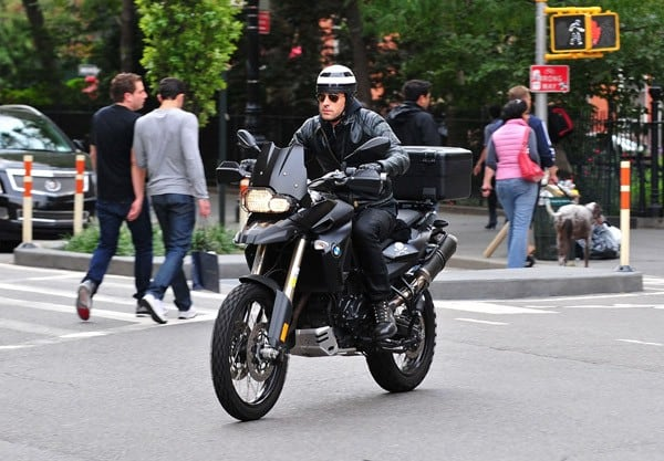 Justin Theroux seen riding in the West Village on September 17, 2011 in New York City.